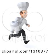Clipart Of A 3d Young White Male Chef Sprinting To The Right And Holding A Tooth Royalty Free Illustration