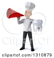 Clipart Of A 3d Young White Male Chef Holding A Tooth And Announcing With A Megaphone Royalty Free Illustration