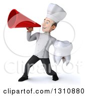 Clipart Of A 3d Young White Male Chef Holding A Tooth And Announcing With A Megaphone 2 Royalty Free Illustration