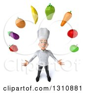Clipart Of A 3d Young White Male Chef Looking Up And Juggling Produce Royalty Free Illustration