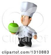 Clipart Of A 3d Short White Male Chef Walking To The Left And Holding A Green Apple Royalty Free Illustration