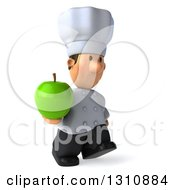 Clipart Of A 3d Short White Male Chef Walking To The Right And Holding A Green Apple Royalty Free Illustration
