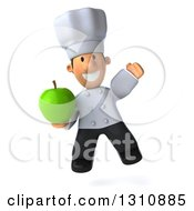 Clipart Of A 3d Short White Male Chef Jumping And Holding A Green Apple Royalty Free Illustration