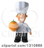 Clipart Of A 3d Short White Male Chef Holding An Orange Royalty Free Illustration