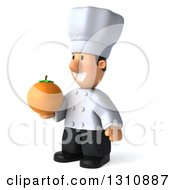 Clipart Of A 3d Short White Male Chef Facing Left And Holding An Orange Royalty Free Illustration
