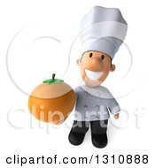 Clipart Of A 3d Short White Male Chef Holding Up An Orange Royalty Free Illustration