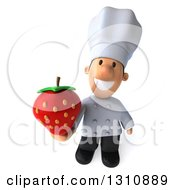 Clipart Of A 3d Short White Male Chef Holding Up A Strawberry Royalty Free Illustration