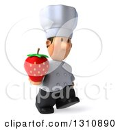 Clipart Of A 3d Short White Male Chef Walking To The Right And Holding A Strawberry Royalty Free Illustration