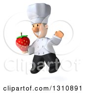 Clipart Of A 3d Short White Male Chef Facing Slightly Left Jumping And Holding A Strawberry Royalty Free Illustration