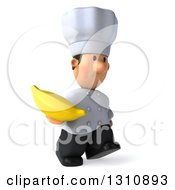 Clipart Of A 3d Short White Male Chef Walking To The Right And Holding A Banana Royalty Free Illustration