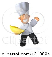 Clipart Of A 3d Short White Male Chef Jumping And Holding A Banana Royalty Free Illustration