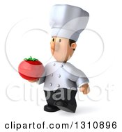 Clipart Of A 3d Short White Male Chef Walking To The Left And Holding A Tomato Royalty Free Illustration