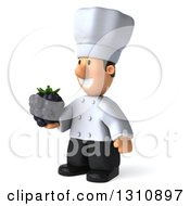 Clipart Of A 3d Short White Male Chef Facing Left And Holding A Blackberry Royalty Free Illustration