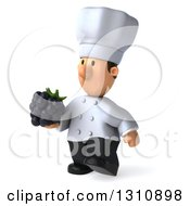 Clipart Of A 3d Short White Male Chef Walking To The Left And Holding A Blackberry Royalty Free Illustration