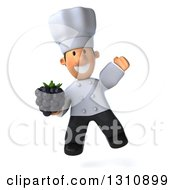 Clipart Of A 3d Short White Male Chef Jumping And Holding A Blackberry Royalty Free Illustration