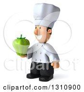 Clipart Of A 3d Short White Male Chef Facing Left And Holding A Green Bell Pepper Royalty Free Illustration