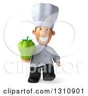 Clipart Of A 3d Short White Male Chef Walking And Holding A Green Bell Pepper Royalty Free Illustration