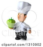 Clipart Of A 3d Short White Male Chef Walking Slightly Left And Holding A Green Bell Pepper Royalty Free Illustration