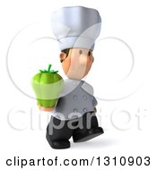 Clipart Of A 3d Short White Male Chef Walking Slightly Right And Holding A Green Bell Pepper Royalty Free Illustration