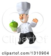 Clipart Of A 3d Short White Male Chef Facing Slightly Left Jumping And Holding A Green Bell Pepper Royalty Free Illustration