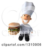 Clipart Of A 3d Short White Male Chef Holding Up A Double Cheeseburger Royalty Free Illustration