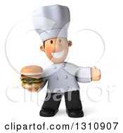 Clipart Of A 3d Short White Male Chef Presenting And Holding A Double Cheeseburger Royalty Free Illustration