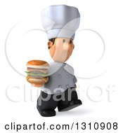 Clipart Of A 3d Short White Male Chef Walking Slightly Right And Holding A Double Cheeseburger Royalty Free Illustration