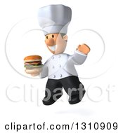 Clipart Of A 3d Short White Male Chef Facing Slightly Left Jumping And Holding A Double Cheeseburger Royalty Free Illustration