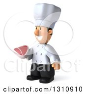 Clipart Of A 3d Short White Male Chef Facing Left And Holding A Beef Steak Royalty Free Illustration