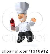 Clipart Of A 3d Short White Male Chef Facing Slightly Left Jumping And Holding A Soda Bottle Royalty Free Illustration