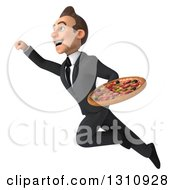 Clipart Of A 3d Happy Young White Businessman Flying Up To The Left With A Pizza Royalty Free Illustration