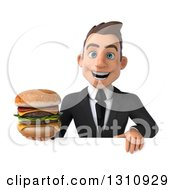 Clipart Of A 3d Happy Young White Businessman Holding A Double Cheeseburger Over A Sign Royalty Free Illustration