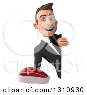 Clipart Of A 3d Happy Young White Businessman Holding A Beef Steak Around A Sign Royalty Free Illustration