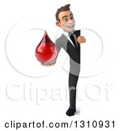 Clipart Of A 3d Full Length Happy Young White Businessman Holding A Blood Drop Around A Sign Royalty Free Illustration