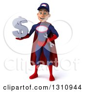 Clipart Of A 3d Young White Male Super Hero Mechanic In A Navy Blue And Red Suit Holding A Dollar Symbol Royalty Free Illustration
