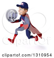 Clipart Of A 3d Young White Male Super Hero Mechanic In A Navy Blue And Red Suit Sprinting To The Left And Holding An Email Arobase At Symbol Royalty Free Illustration