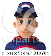 Clipart Of A 3d Avatar Of A Young White Male Super Hero Mechanic In A Navy Blue And Red Suit Royalty Free Illustration