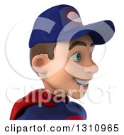 Clipart Of A 3d Avatar Of A Young White Male Super Hero Mechanic In A Navy Blue And Red Suit Facing Right Royalty Free Illustration