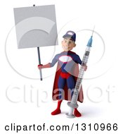 Clipart Of A 3d Young White Male Super Hero Mechanic In A Navy Blue And Red Suit Holding A Giant Vaccine Syringe And A Blank Sign Royalty Free Illustration