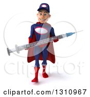 Clipart Of A 3d Young White Male Super Hero Mechanic In A Navy Blue And Red Suit Walking And Holding A Giant Vaccine Syringe Royalty Free Illustration