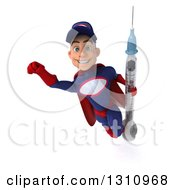 Clipart Of A 3d Young White Male Super Hero Mechanic In A Navy Blue And Red Suit Flying And Holding A Giant Vaccine Syringe Royalty Free Illustration