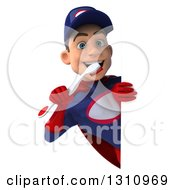 Clipart Of A 3d Young White Male Super Hero Mechanic In A Navy Blue And Red Suit Holding A Toothbrush Around A Sign Royalty Free Illustration