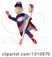 Clipart Of A 3d Young White Male Super Hero Mechanic In A Navy Blue And Red Suit Flying And Holding A Toothbrush Royalty Free Illustration