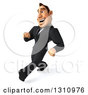Clipart Of A 3d Macho White Businessman Walking With Big Strides To The Left Royalty Free Illustration