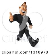 Clipart Of A 3d Macho White Businessman Giving A Thumb Up And Walking With Big Strides To The Right Royalty Free Illustration