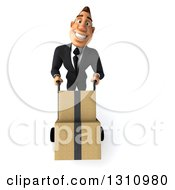 Clipart Of A 3d Macho White Businessman Smiling And Moving Boxes On A Dolly Royalty Free Illustration