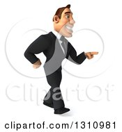 Clipart Of A 3d Macho White Businessman Walking And Pointing To The Right Royalty Free Illustration