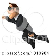 Clipart Of A 3d Macho White Businessman Wearing Sunglasses And Flying To The Left Royalty Free Illustration