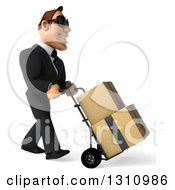 Clipart Of A 3d Macho White Businessman Wearing Sunglasses And Moving Boxes On A Dolly To The Right Royalty Free Illustration