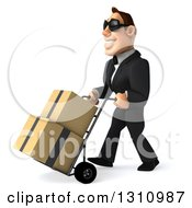Clipart Of A 3d Macho White Businessman Wearing Sunglasses And Moving Boxes On A Dolly To The Left Royalty Free Illustration